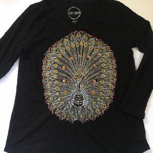 Lucky Brand Black Peacock Shirt- S